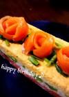 誕生日♬牛乳パックでサーモン寿司ケーキ