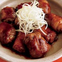 薄切り肉の巻き巻き角煮