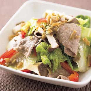 牛肉とレタスの温サラダ