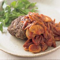 牛バーグの根菜トマトソース