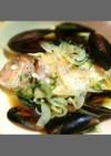 コストコのムール貝で魚の蒸し料理
