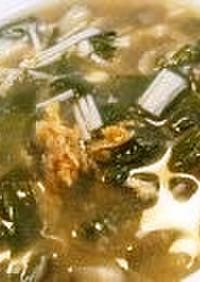 風邪気味の人に にらときのこのスープ