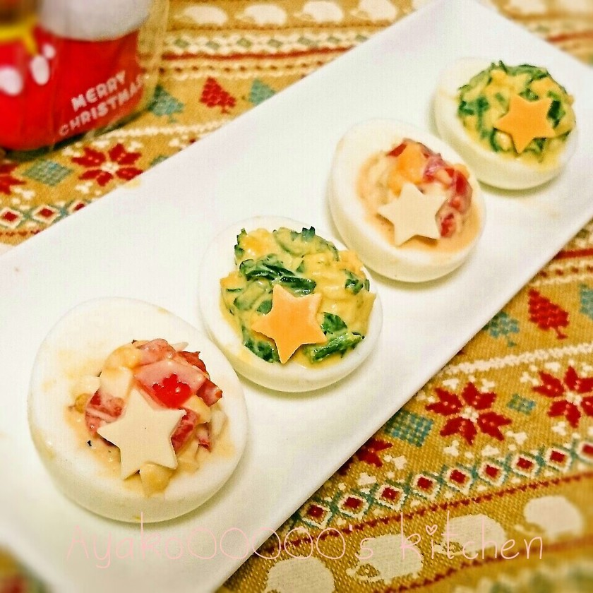 簡単♪ゆで卵のクリスマスカラーオードブル