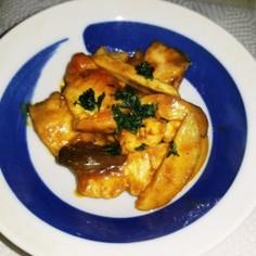 鶏むね肉×エリンギ炒め☆ソースカレー味♪