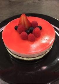 糖質制限★ラズベリーとレアチーズのケーキ