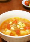 蒸し大豆とじゃがいものトマトスープ