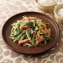 水菜とベーコンのチャンプルー
