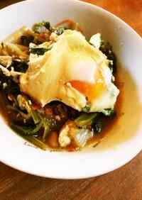 栄養たっぷり!菜っ葉いりの巣篭り卵