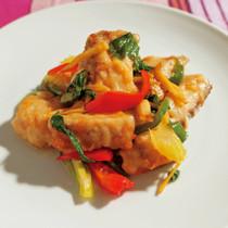 白身魚とセロリの炒め