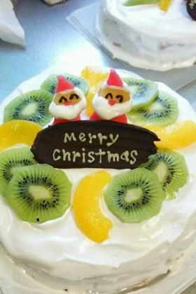 クリスマスケーキ  りんごで!サンタさん