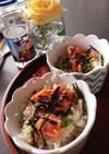 簡単 朝食に スモークサーモンと、青葉丼