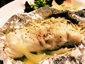 簡単フライパン☆白身魚(タラ)ホイル焼き