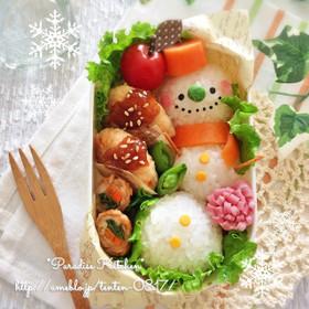 キャラ弁*簡単♪クリスマススノーマン弁当