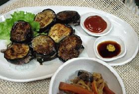 茄子の挽肉はさみ焼き