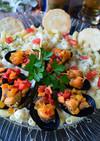 ムール貝とクリームパスタの大皿盛り