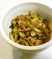 大根葉の醤油炒め煮の写真