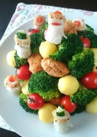 ナゲットでクリスマスツリー☆+サンタ?★