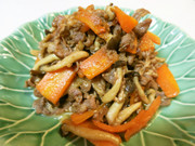 NZ産ラム肉の甘辛和風炒めの写真