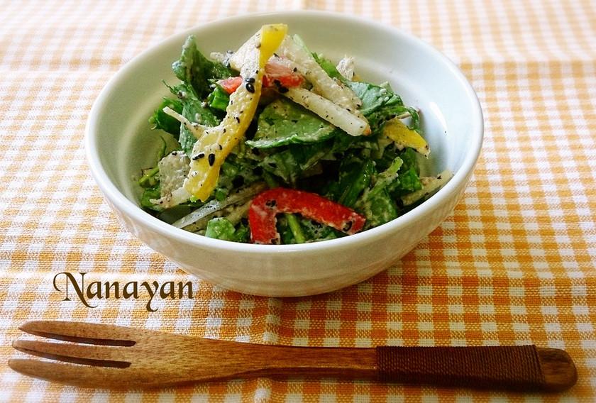 無塩料理☆ルッコラと菊芋のゴマドレサラダ