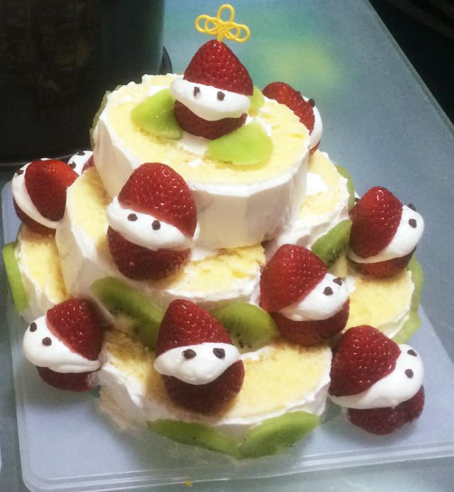 ロールケーキ 簡単クリスマス♪デコ