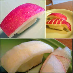 りんごでにぎり寿司!赤身、イカ、飾り切り