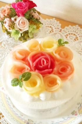 バラの花束☆りんごコンポートレアチーズ♪
