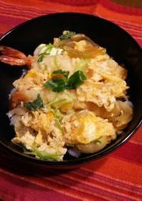 海老天ぷら卵とじ丼♪
