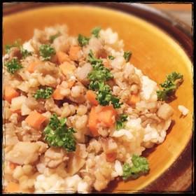 根菜とそばの実の味噌そぼろご飯☆マクロビ