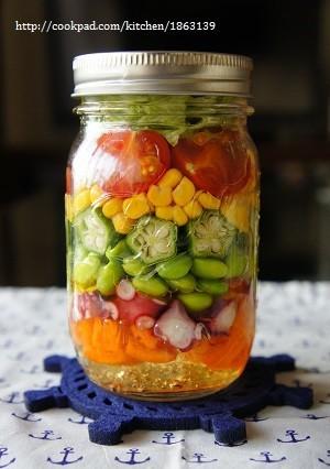 メイソンジャーで♪夏野菜のジャーサラダ