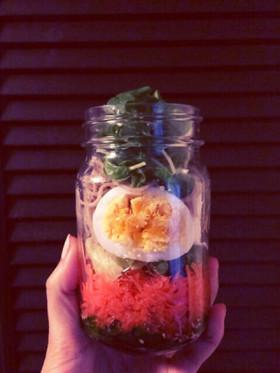 和風 お蕎麦のメイソンジャーサラダ