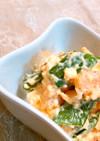 スナップエンドウとサラダ海老の卵サラダ