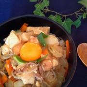 節約ダイエット*豆腐と白滝のすき焼き風丼の写真