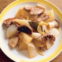 大根と豚肉のガーリックレモンロースト