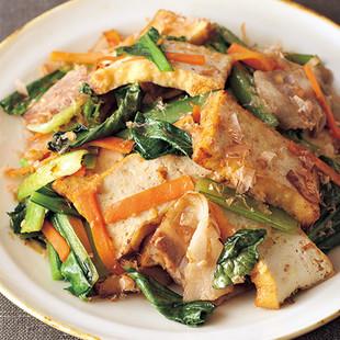 厚揚げと小松菜のおかか炒め
