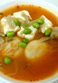 春雨スープで作る★もち入り担々鍋風