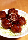 高野豆腐で肉だんごの甘酢あんかけ