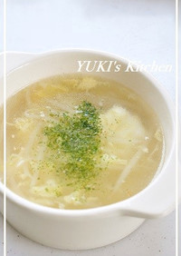 シャキシャキもやしと★ふわふわ卵のスープ