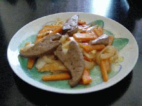 レバーと残り物野菜炒め