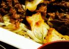 牛コマ肉と厚揚げキャベツの簡単炒め