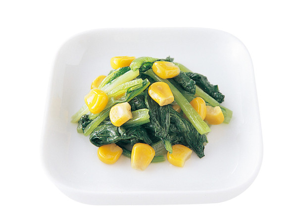 小松菜とコーンのソテー
