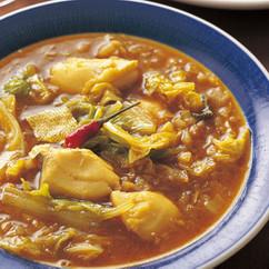 白菜とたらのスープカレー