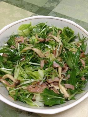 ☆水菜としめじとハムの冬サラダ
