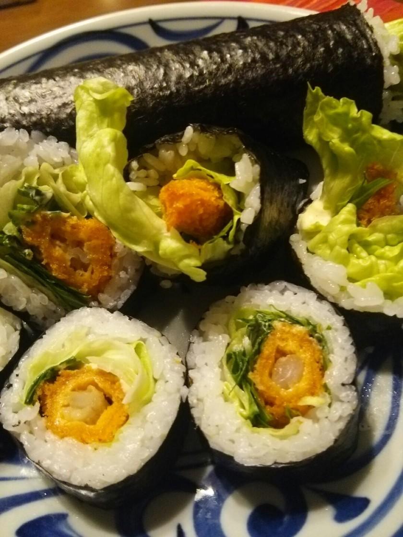 節分☆恵方巻!太巻き寿司♪エビフライ
