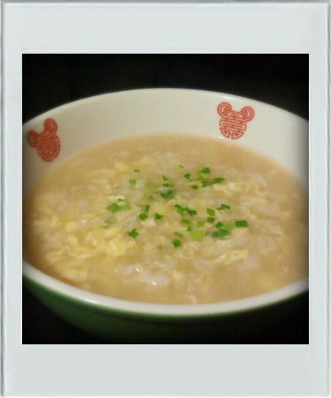 ■簡単朝昼■残りご飯で卵雑炊☆中華粥減量