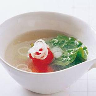 ミニトマトとサンチュのスープ