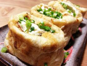 簡単♡ふわとろ豆腐と卵の油揚げ包み焼き♡