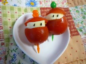 ミニトマトとチーズで簡単キャラ弁おかず♪