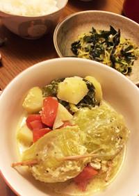 餃子でロールキャベツ☆豆乳スープ仕立て