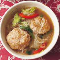 豆腐肉だんごの中華はるさめスープ
