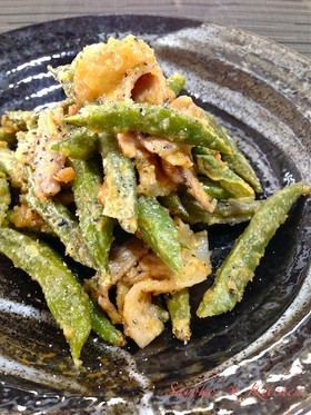 豚肉といんげん豆の胡麻味噌マヨネーズ炒め